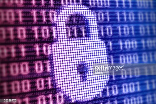 Colorful digital lock sign on binaric background