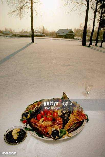 A colorful dish of smoked and baked fish and tomatoes accompanied with caviar and a glass of vodka | Location Khanty Mansiysk Siberia USSR
