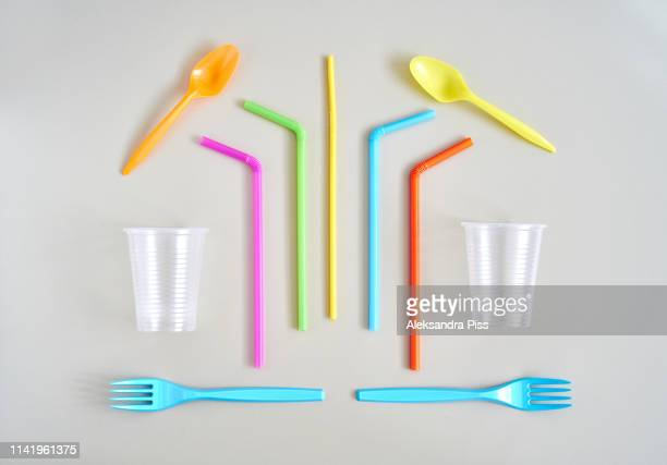colorful disposable cutlery and cups - drinking straw stock pictures, royalty-free photos & images