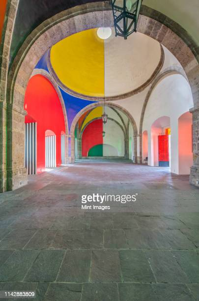 colorful domes of hospicio cabanas, guadalajara, jalisco, mexico - guadalajara mexico stock pictures, royalty-free photos & images