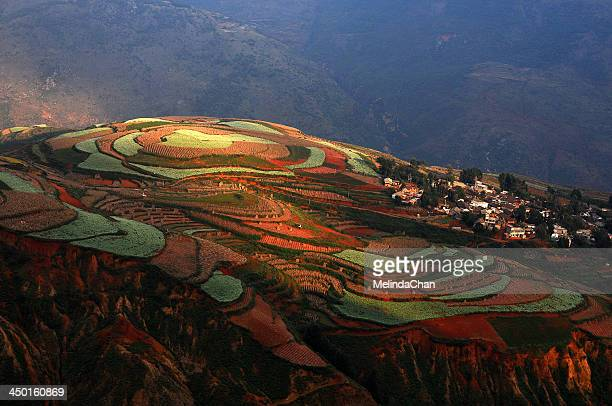 Colorful Dongchuan red earth terraces field