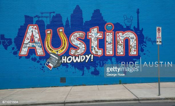 A colorful downtown wall mural is viewed along 6th Street on April 14 in Austin Texas Austin the State Capital of Texas the state's second largest...