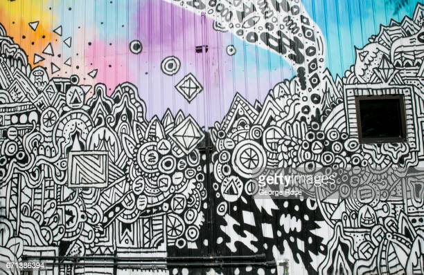 A colorful downtown wall mural is viewed near 6th Street on April 14 in Austin Texas Austin the State Capital of Texas the state's second largest...