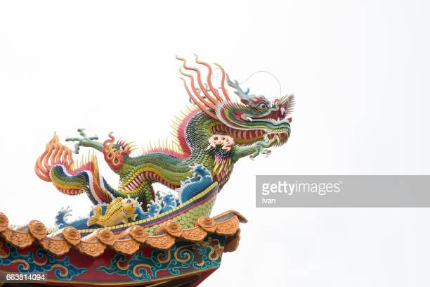 Colorful Dragon Decoration on the Roof of Traditional Chinese Temple, Buddhist Building against Blue Sky