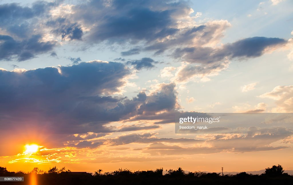 colorful dramatic sky with cloud at sunset : Stock Photo