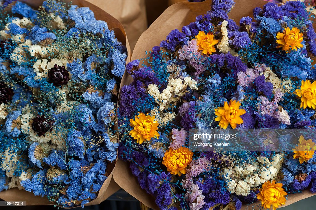 Colorful dried flower bouquets for sale at the Pike Place ...