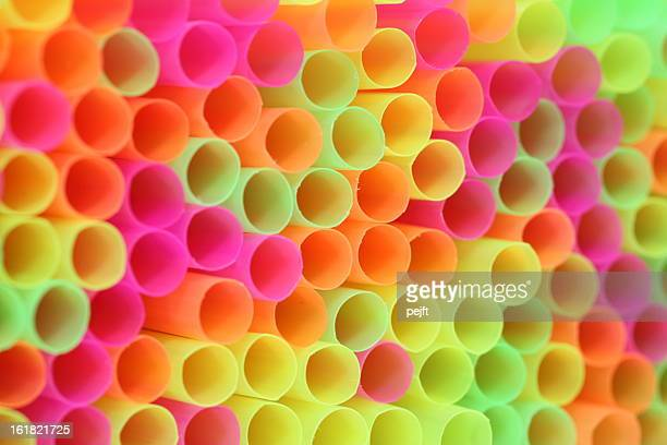 colorful drinking straw - shallow focus