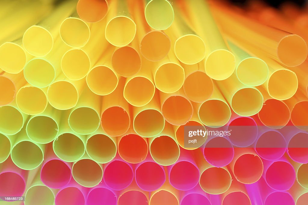 colorful drinking straw - shallow focus : Stock Photo