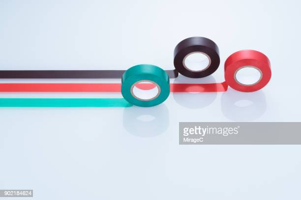 colorful duct tapes on white glass - position stock-fotos und bilder