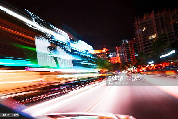 Colorful dynamic light trails in Miami