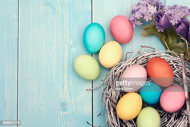 Colorful Easter decorations on wooden plank. Debica, Poland