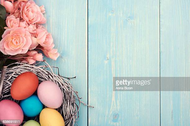 Colorful Easter eggs in the nest. Debica, Poland