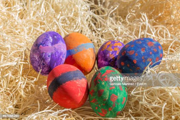 Colorful Easter Eggs On Hay