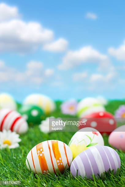 colorful easter eggs - easter egg hunt stock photos and pictures