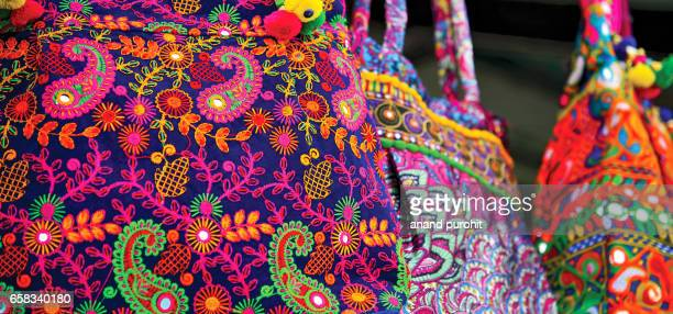 colorful embroidery handicraft, handbags and purses at market for sale - art of india - traditional clothing stock pictures, royalty-free photos & images
