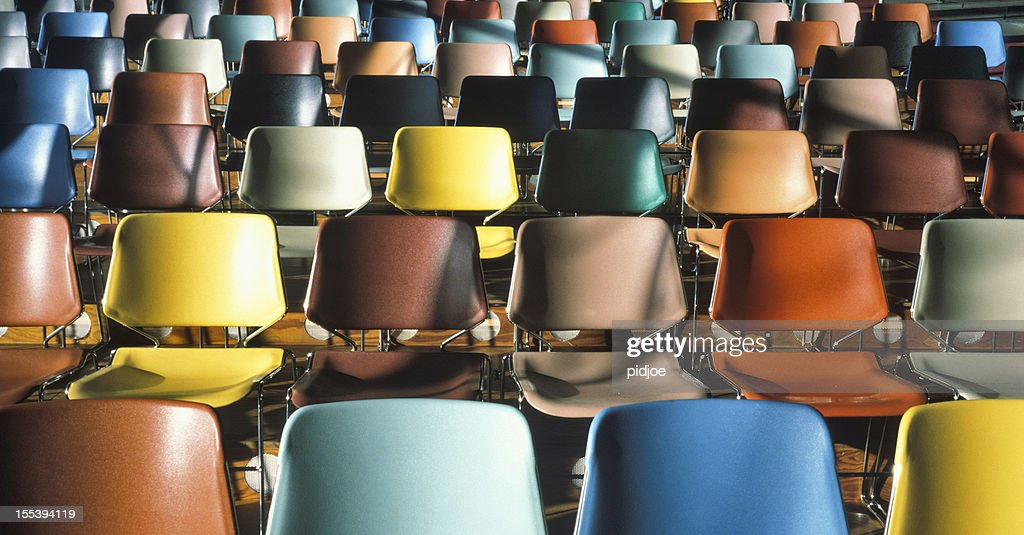 colorful empty chairs in theater : Stock Photo