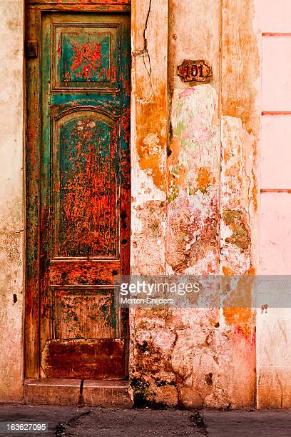 Colorful eroded doorway and wall