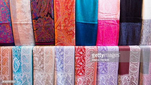 Colorful Fabrics Displayed in the Textile Souk, Dubai, United Arab Emirates