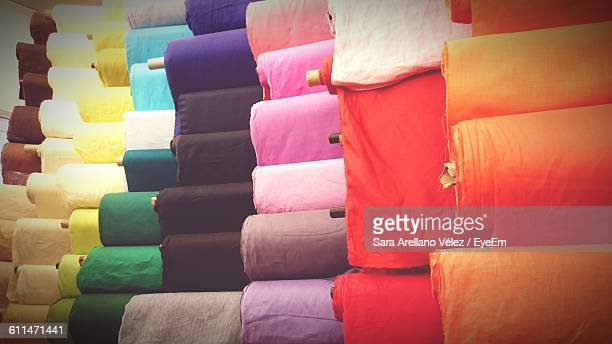 Colorful Fabrics For Sale At Market Stall