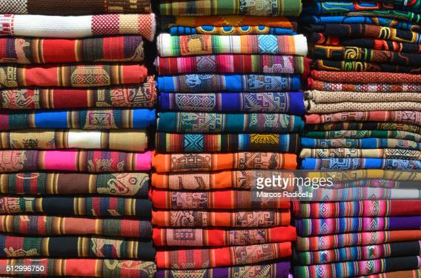 colorful fabrics in southamerica - radicella stock pictures, royalty-free photos & images