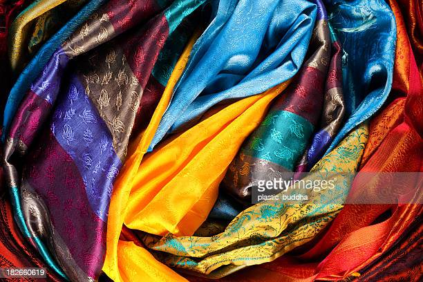 colorful  fabrics - sari stock pictures, royalty-free photos & images