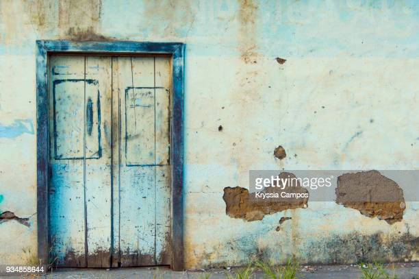 Colorful facade and door to old colonial house in Granada, Nicaragua
