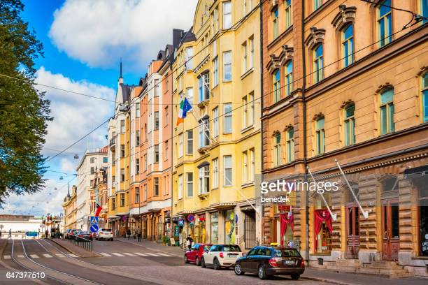 Colorful facades in the Design District of downtown Helsinki Finland