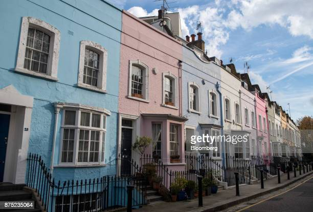 Colorful facades of residential houses stand in Chelsea west London UK on Thursday Nov 16 2017 London's housing market is being battered from all...