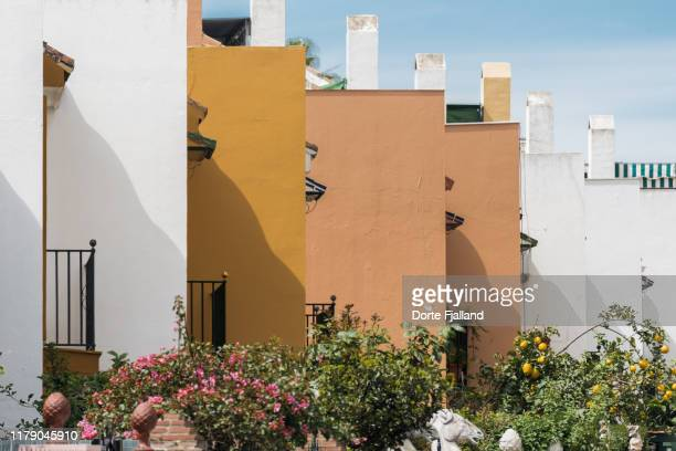 colorful facades of row houses with flowering bushes in the foreground - dorte fjalland fotografías e imágenes de stock