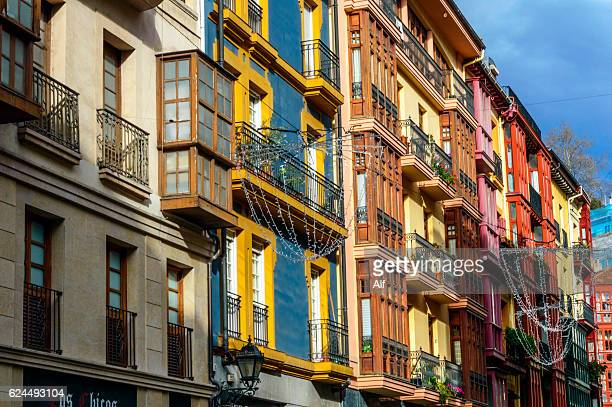 Colorful facades of the Casco Viejo, Bilbao, Biscay, Spain