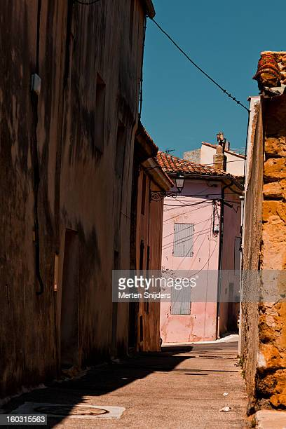 Colorful facades on empty village street