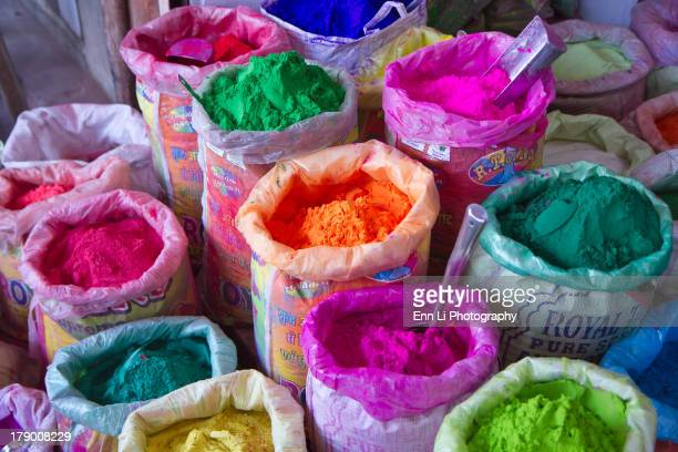 CONTENT] Colorful face powder for sale in a market used for Holi festival in India color and spring festival celebrating love between Krishna and...