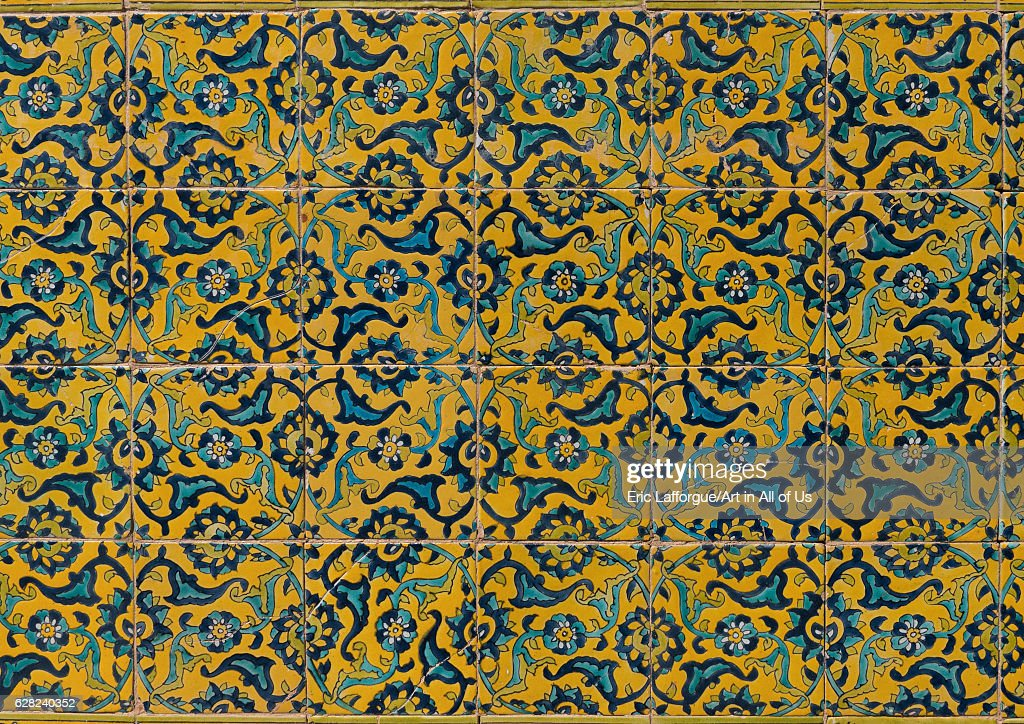 Colorful faience tiles at shrine of sultan ali kashan county