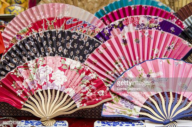 Colorful fans for sale in Muslim quarter, Xian, China
