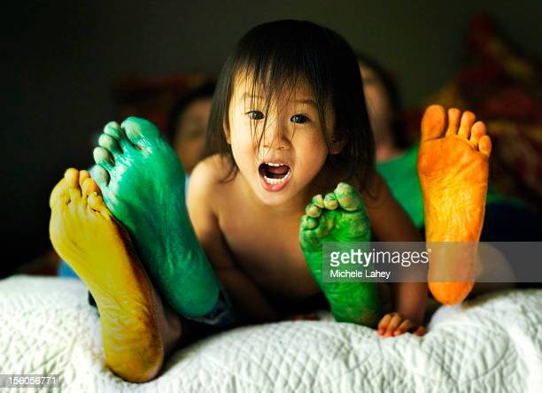 Colorful Feet and Little Girl