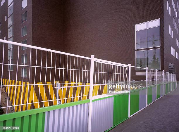 Colorful fence at construction site in Paris