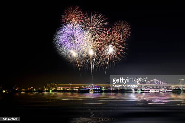 Colorful firework at beach .