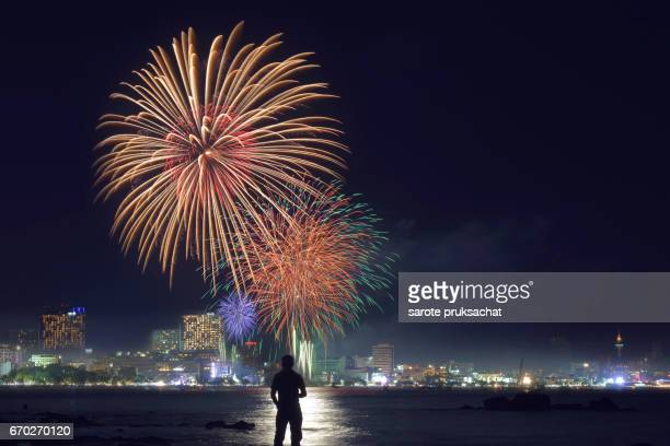 Colorful firework over the city .