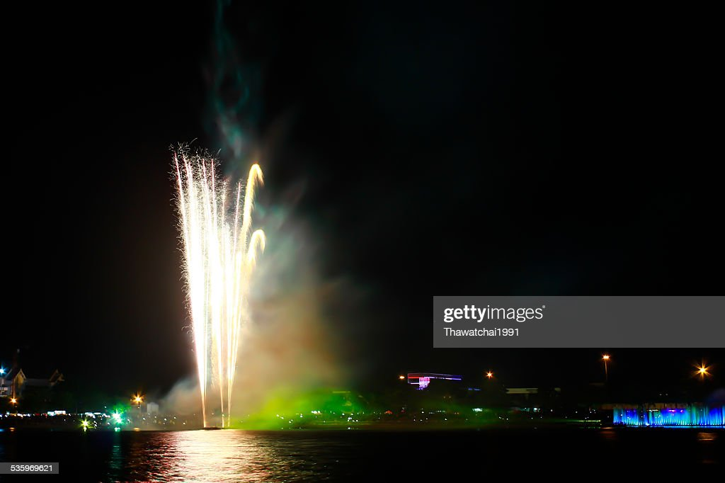 Colorful firework show taken in Thailand : Stock Photo