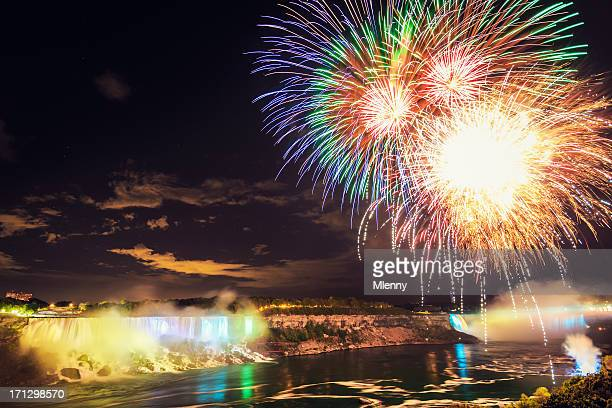 Colorful Fireworks at Niagara Falls Night Scene