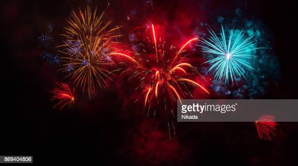 colorful fireworks display - fireworks stock pictures, royalty-free photos & images