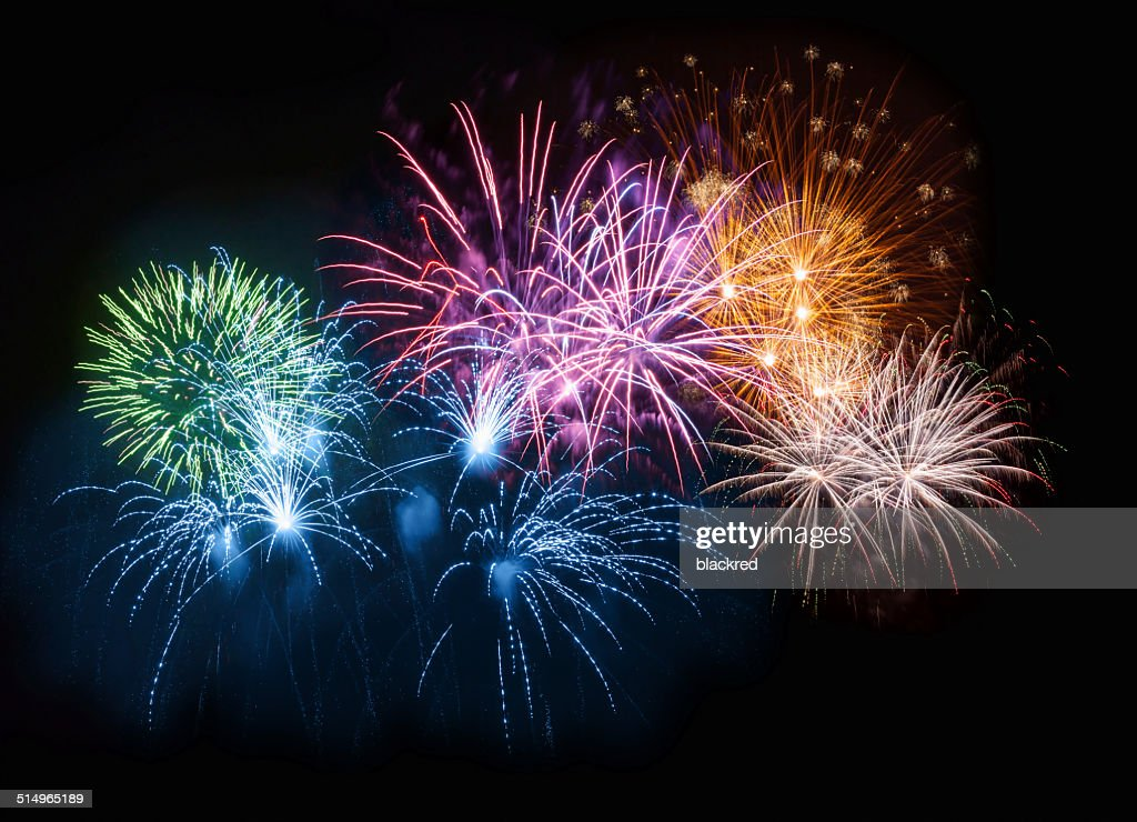Colorful Fireworks on Night Sky : Stock Photo