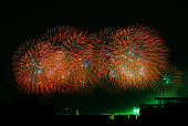 colorful fireworks show black night skyhappy