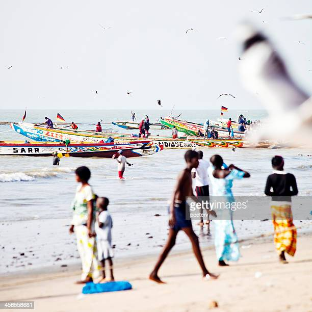 Colorful fishing action in west africa.