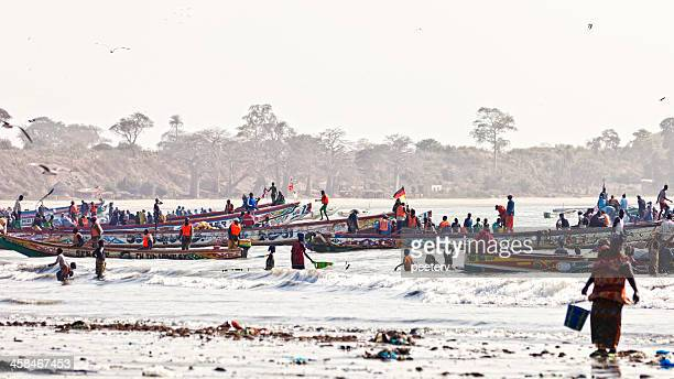 Colorful fishing boats in west africa.
