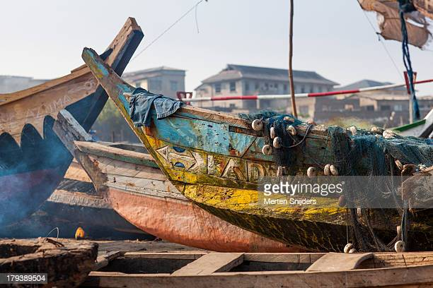 Colorful fishing boats on land
