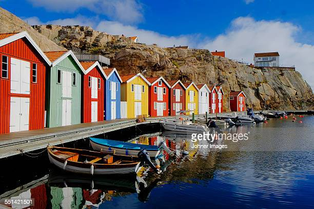 colorful fishing huts at water - gothenburg stock pictures, royalty-free photos & images