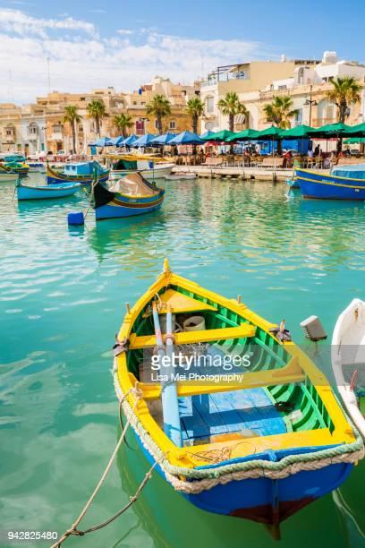 colorful fishing village of marsaxlokk - malta stock pictures, royalty-free photos & images