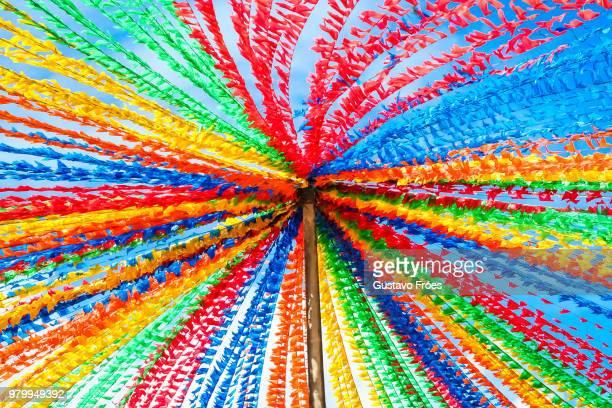 Colorful flags during Festa de Sao Joao do Porto festival, Porto, Grande Porto, Portugal