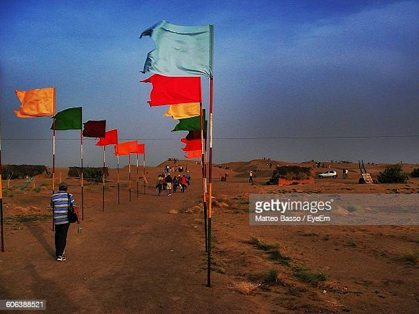 Colorful Flags On Field Against Sky